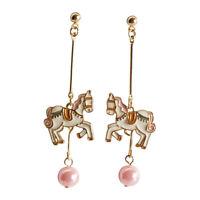 E1063 Betsey Johnson Dangling Unicorn Magic Pink Play Pearl Long Earrings UK