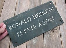 Old Bronze / Brass Ronald Hesketh Estate Agent Sign Plaque with Enamel Lettering
