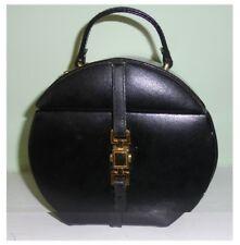 Unusual Round Dulwich Designs Black Leather Jewellery Box