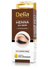 Delia HENNA TINT Eyebrow  cream DARK BROWN Contains argan oil  15Applications