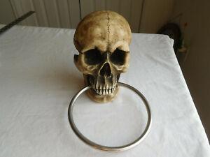"DWK 3D SKULL TOWEL Holder 2007 resin Goth Steampunk Halloween 8""x5""x3"" Scary"