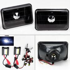 """4X6"""" 10K HID Xenon H4 Glass Black Headlight Conversion w/ Bulbs Pair RH LH"""
