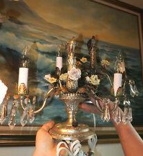 2 French Antique Shabby Brass silver p Spelter Porcelain Rose Vintage candelabra