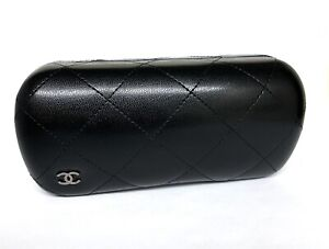 Chanel Sunglass Hard Case Clamshell Quilted Black Leather Medium 6.5 x 2.75 x 2