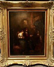 "Rudolf Wolf 1877-1940 German Oil On Cradled Wood Panel ""Courting"" - 20"" X 16"""