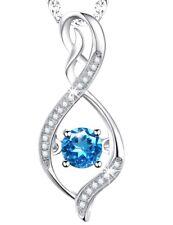 Natural Swiss Blue Topaz Geniune GEMSTONE Infinity Birthstone Pendant Necklace
