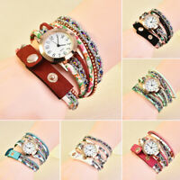 Fashion Women Girls PU Leather Rhinestone Analog Quartz Wrist Watches Watch
