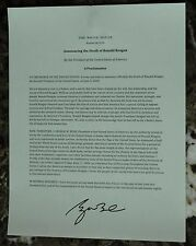 Presidential Seal Stationary Proclamation Announcing the death of Ronald Reagan