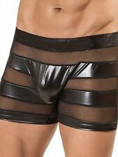 Latex Look Sexy Mens Briefs with See Through Mesh Panels Gay