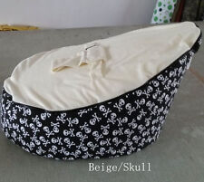 Skull canvas Baby infant Bean Bag Snuggle seat bed 2 upper layer No Filling
