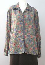 VIVIAN Size 13 Purple Floral Long Sleeve Button-Down Blouse