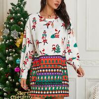 Fall Womens Ladies Blouse Tee Xmas Loose Casual T Shirt Party Long Sleeve Top C9