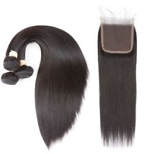 Premium Human Hair 3 Bundles Hair With 4*4 Free Part Lace Closure Natural Black
