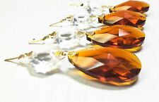 """AMBER CRYSTAL ALMOND 3.0/""""GLASS ORNAMENT 76MM CHANDELIER PRISM 5PCS"""