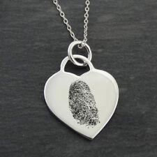 Custom Engraved Fingerprint Heart Memorial Necklace - 925 Sterling Silver