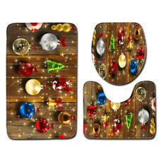LE 3PCS/Set Christmas Bathroom Decoration Non-Slip Rug+Lid Toilet Cover+Bath Mat