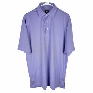 FootJoy FJ Golf Polo Shirt Men's Medium Purple White Striped Stretch CCC Logo