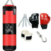 Punching Bag Heavy Boxing Training Gloves Speed Set Kicking MMA Workout Empty