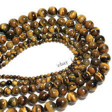 Piedra natural ojo de tigre suelto espaciador redondo del grano para joyería haciendo 4/6/8/10/12mm