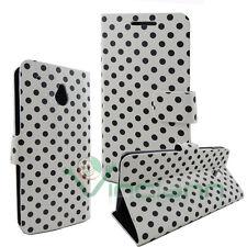 Custodia cover BOOK STAND POIS per HTC One mini M4 BIANCO pallini NERI nuova