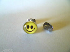 Smiley Acid Logo Stud Earring Single 8mm- 316L Surgical Steel Free P&P New