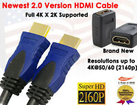 3FT High Resolution 4K X 2K HDMI Cable + Gold Plated HDMI F/F Extension Adapter