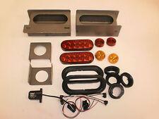 Steel Box LED 6 Oval Light Kit Trailer Truck Camper W/License Holder + Markers