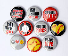 "10 SOFTBALL Buttons Pinbacks Badges 1"" Sport Team Girls"