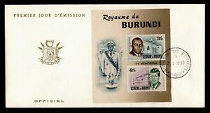 DR WHO 1966 BURUNDI FDC IN MEMORIAM LOUIS RWAGASORE + JFK S/S C238461
