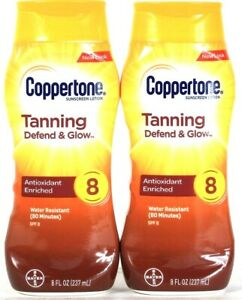 2 Coppertone 8 Oz Tanning Defend Glow Antioxidant Enrich SPF 8 Sunscreen Lotion