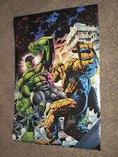 INCREDIBLE HULK vs THING Vintage Poster SIGNED by STAN LEE ~Marvel/Avengers