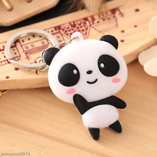 Lovely Silicone 3D Cartoon Panda Ring Keychain Bag Kawaii Pendant Key Ring Chain