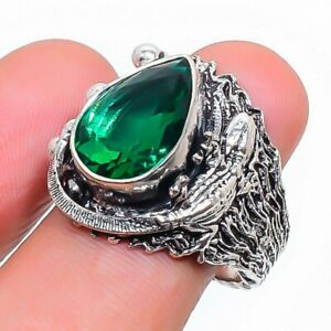 Chrome Diopside Gemstone Handmade 925 Sterling Silver Jewelry Ring Size 7.5 C688