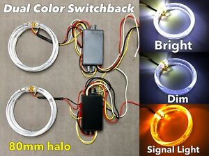 2x 80mm LED DRL Angel eye CLEAR LENS halo ring switchback turn signal light
