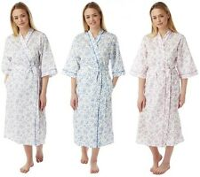 Ladies Polycotton Dressing Gown Size UK 10 to 30 Bath Robe Wrap Tie Pockets Plus Blue 24/26