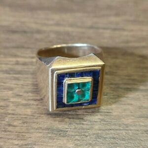 18K Yellow Gold Men's  Ring with Blue and Green inlay stones 8.64g