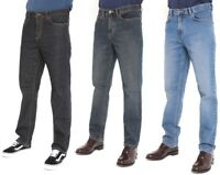 New Mens Straight Leg Jeans Regular Fit Plain Denim  All Waist & Sizes