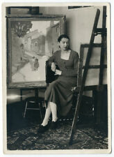 Photo circa 1933 - Femme peintre rue Milton Paris - atelier Peinture painter