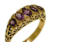 R307 Genuine 9ct SOLID Yellow Gold Natural Amethyst & Diamond Bridge Ring size O