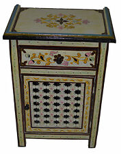 Moroccan Dresser Night Stand Table Wood Moorish Hand Painted Handmade Beige