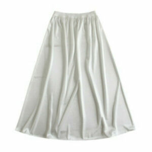 Lady Satin Faux Silk Underskirt Petticoat Under Dress Half Slip Midi Skirt Solid