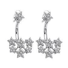 1.68ct Diamond 14k White Gold Behind The Ear Floating Jacket Christmas Earrings