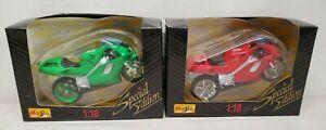 """2 Maisto """"Special Edition"""" Honda NR Red & Green Motorcycles DIE CAST 1:18 NIB"""