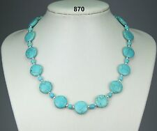 """Lovely turquoise round & coin bead necklace, silver-plated ball spacers 19""""+2"""