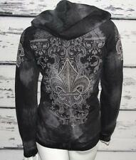 VOCAL~DISTRESSED *BLING RHINESTONES STUDS* HOODED SWEATSHIRT PULLOVER SWEATER~M