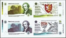 Batalla de Lewes, conjunto de 3 piezas, 2 x billetes (£ 1/5 £) + Tarjeta Postal. UNC que empareja