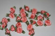 "7/8"" x 1/2"" small ribbon roses peach, moss flower applique Lot of  20 NEW"