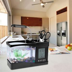 Mini Fish Tank Aquarium LED Lamp USB Desktop Fish Tank LCD Time Clock Home Deco