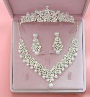 Wedding Jewelry Set Necklace Fashion Crystal Pendants Rhinestone Bridal Earrings
