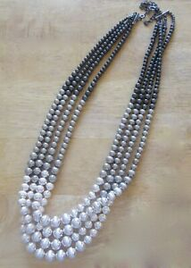 """Fashion Necklace -silver, gray  & black round beads- 4 strands-ombre look- 28"""""""